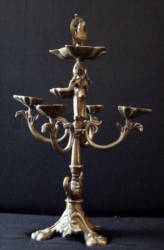 Bougeoir en bronze 45cm Inde  XIX