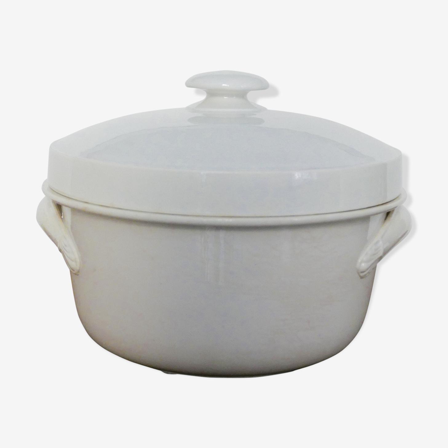 Old soup dish in white ceramic