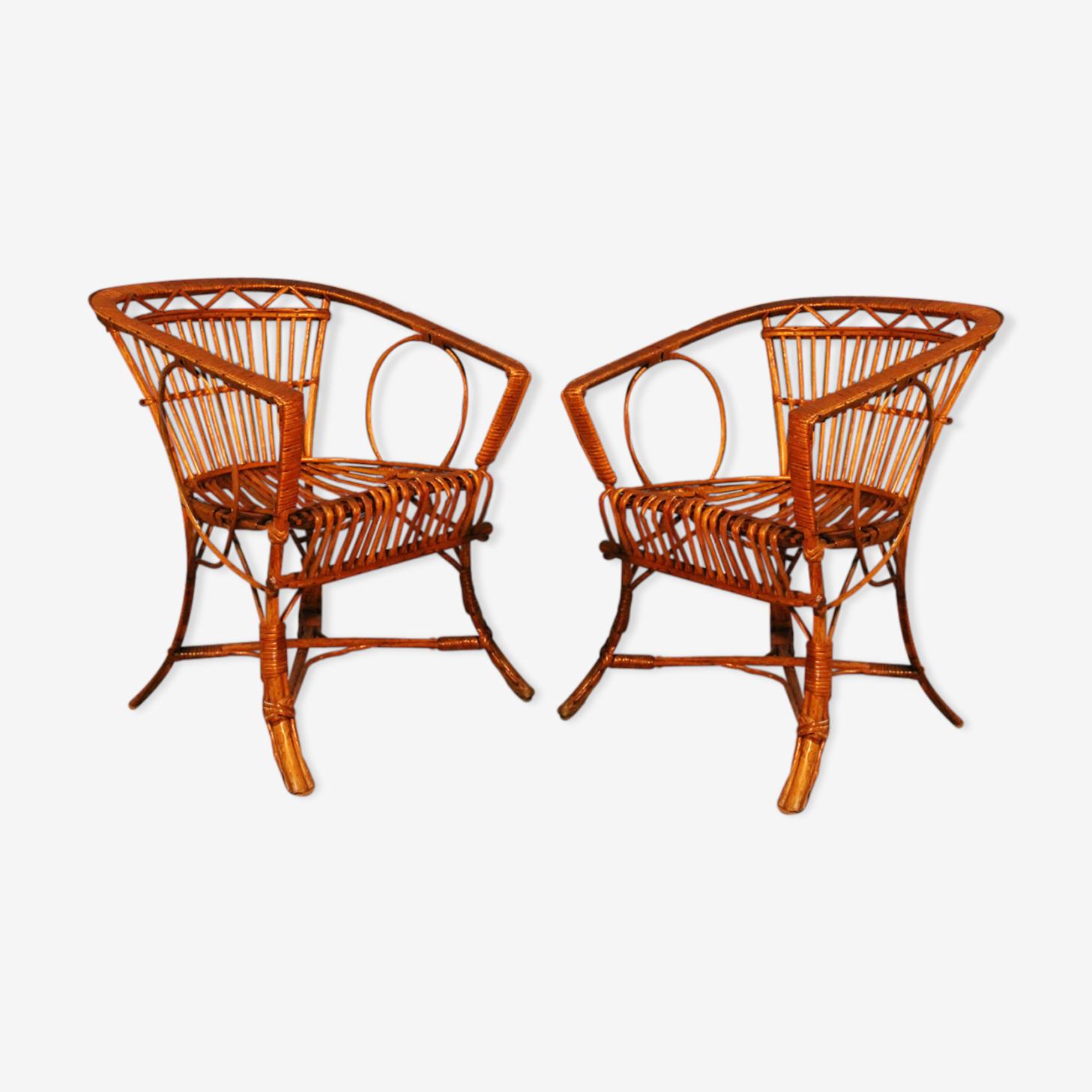 Paire de fauteuils rotin 1950s