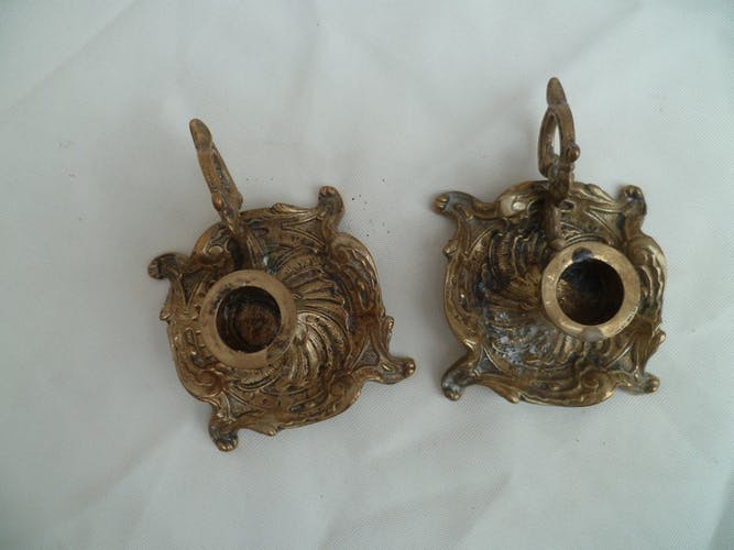 Pair of small candlesticks in gilded bronze