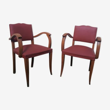 Pair of armchairs 60s design moustache bridge