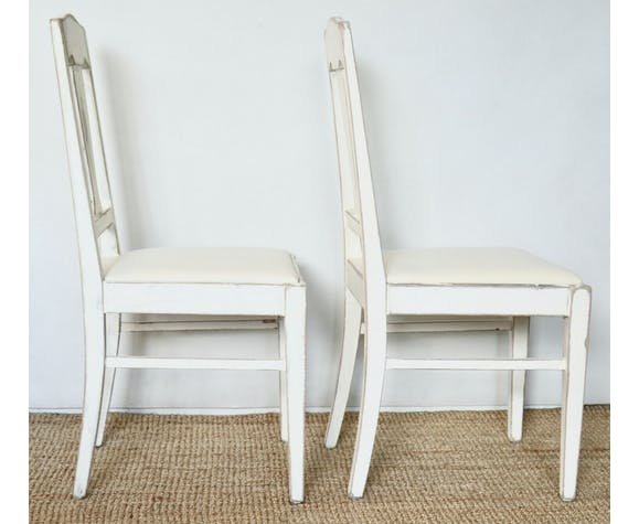 Antique Art Nouveau Swedish Off White Dining Chairs, 1920s, Set of 2