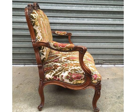 Louis XV style walnut bench