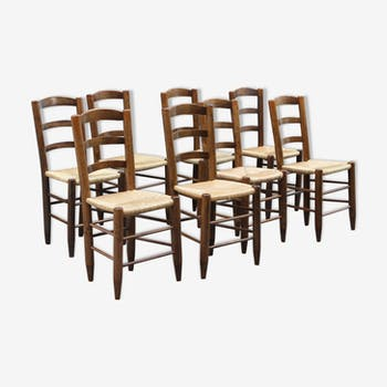 Series of 8 wooden and straw chairs, chalet style of the 50s