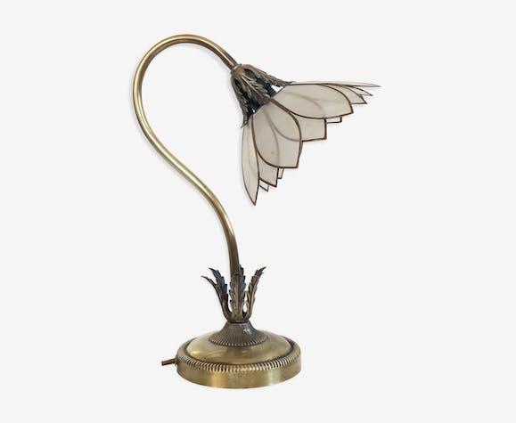 Lampe Fleur En Laiton Et Nacre Ancienne Laiton Dore Vintage