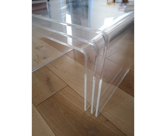 3 tables gigognes plexiglas transparent David Lange