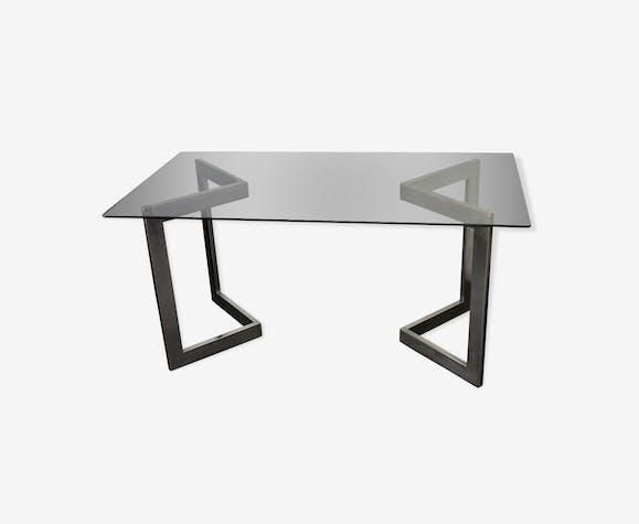 Table acier et verre, vers 1970