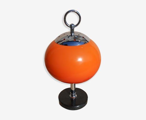Lampe de bureau orange avec socle en marbre noir 1950s verre et