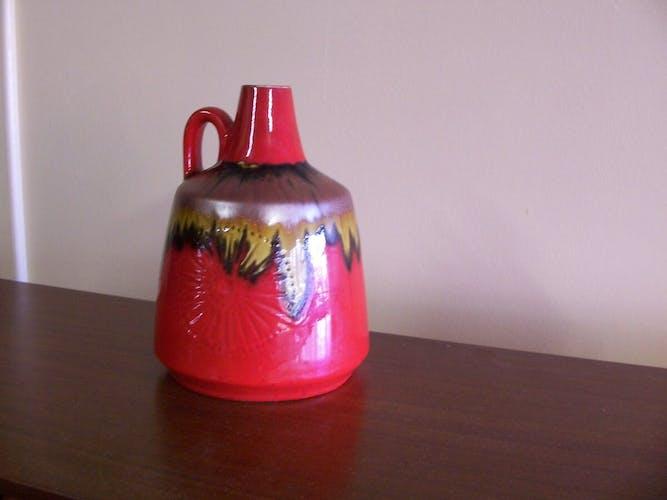 Vase en céramique multicolore, 60's