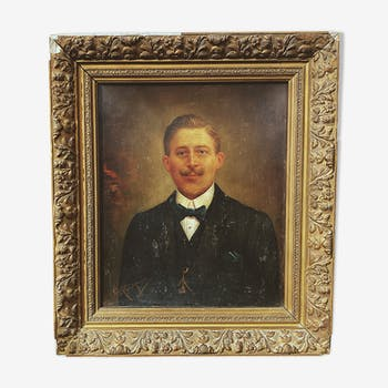 Portrait of a man with a 19th century mustache