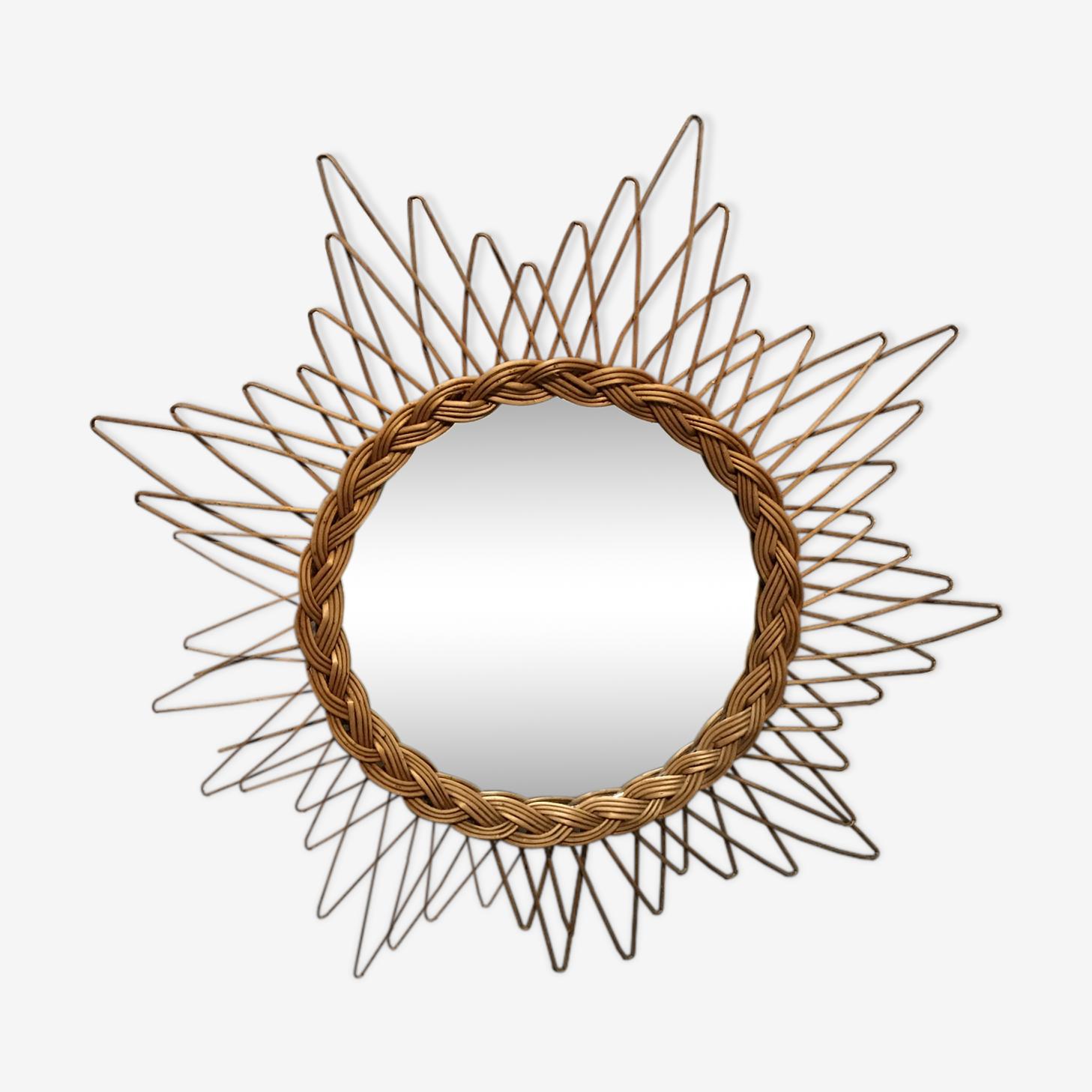 Sun braided - 64 cm - 50s vintage rattan mirror