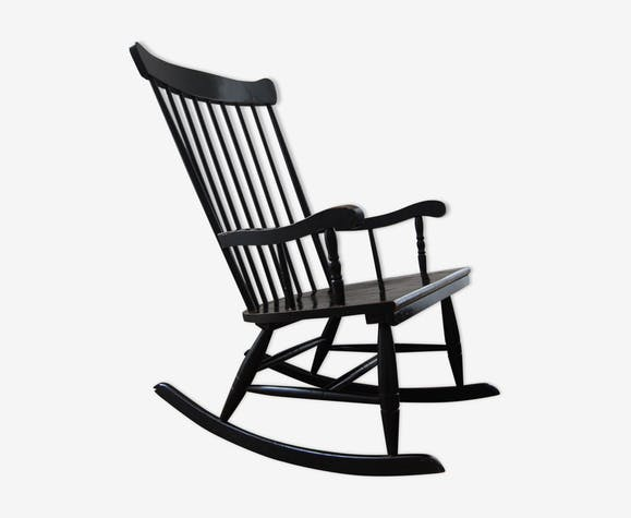 rocking chair noir en bois bois mat riau noir scandinave f2jql8f. Black Bedroom Furniture Sets. Home Design Ideas