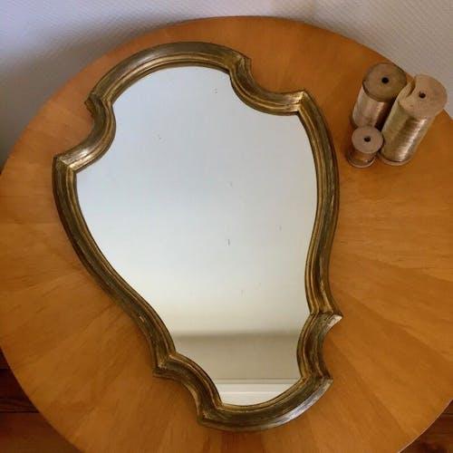 Golden baroque mirror 1950 - 33x49cm