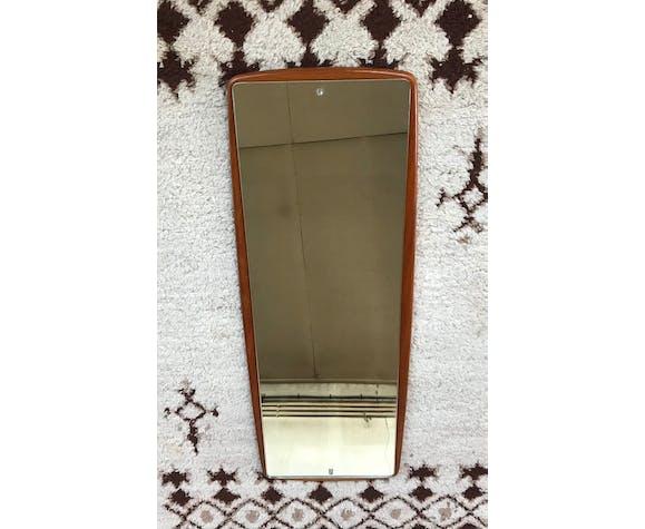 Miroir scandinave en teck long et étroit 1950 1960 vintage design  36x95cm