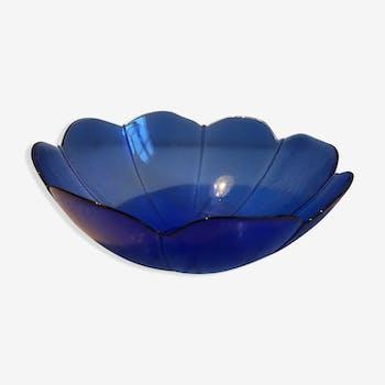 Saladier artisanal en verre bleu