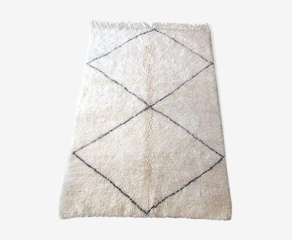 Tapis beni ouarain berbere en laine fait main 215x155cm