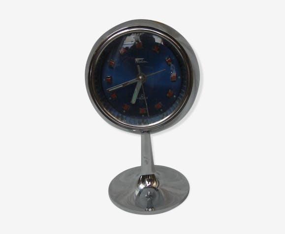 Pendule chrome sur pied de 1970 fashion 2 jewels Japan