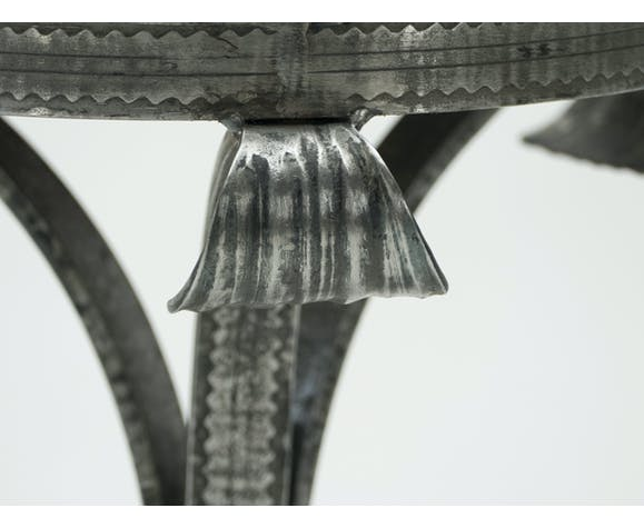 Guéridon art deco acier martelé plateau bois années 1940