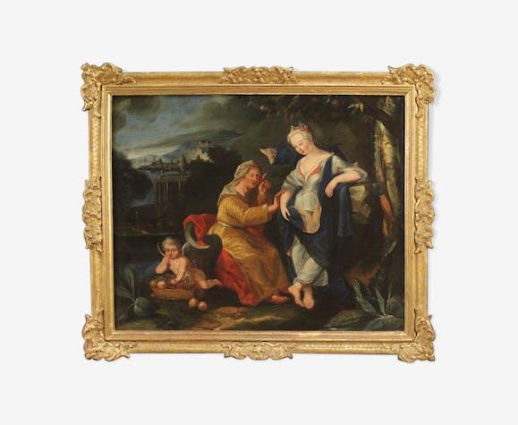 Allégorie de peinture antique Vertumnus et Pomona du 18ème siècle