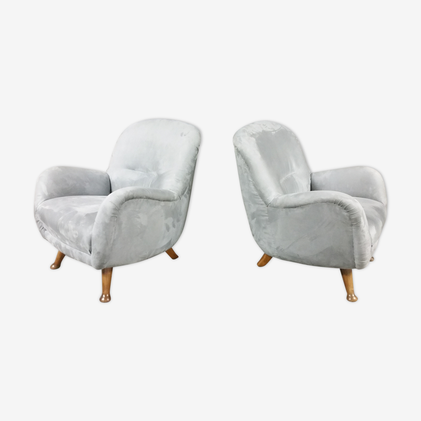 Paire de fauteuils club EGG danois années 50-60