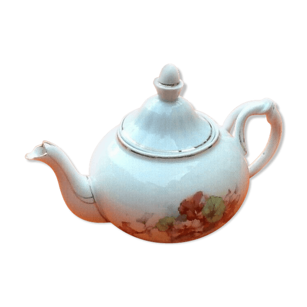 Old Porcelain Teapot With Floral Decoration Selency