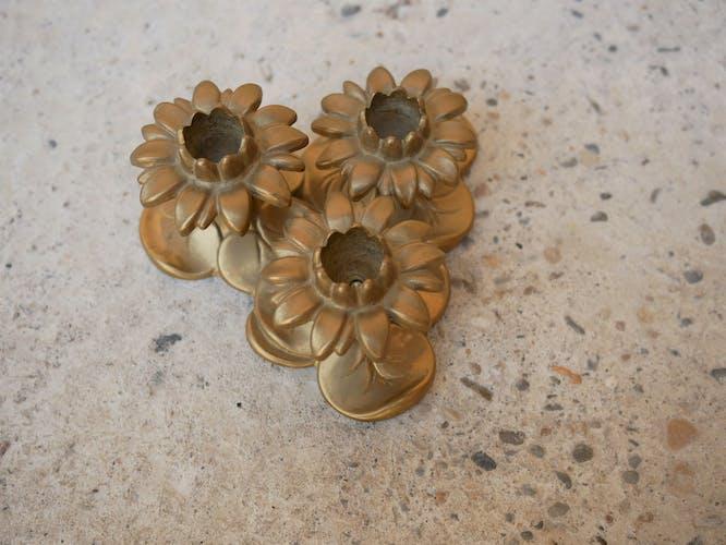 Golden brass candlesticks