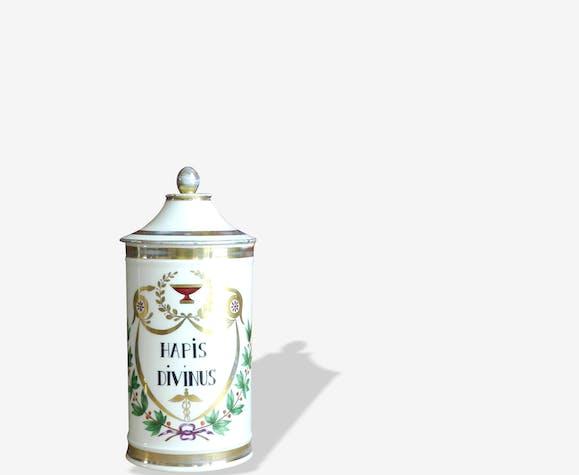 Pot à pharmacie en porcelaine française Hapis Divinus