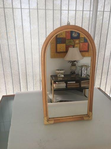 Vintage rattan mirror 41x74cm