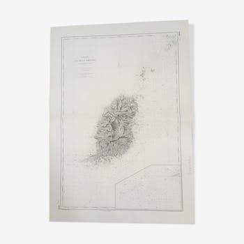 Carte marine ancienne de l'Ile de Grenade (Antilles)