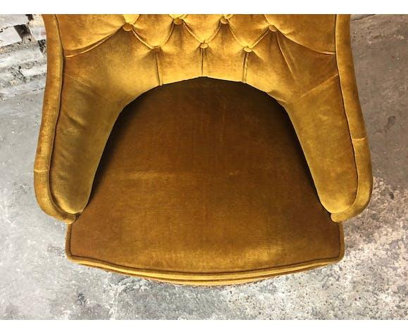 Fauteuil vintage style Napoleon III en velours moutarde 50'S