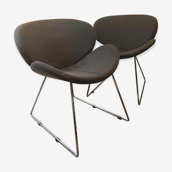 Lot de deux chaises design grises