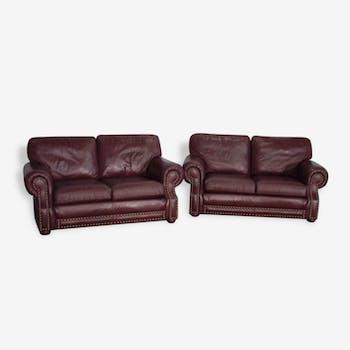 Pair of vintage sofas bordeaux