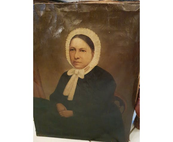 Peinture ancienne huile sur toile portrait de femme XIX ème