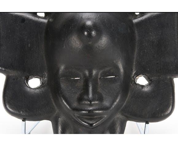 Masque Africain en céramique émaillée noire Roger Capron
