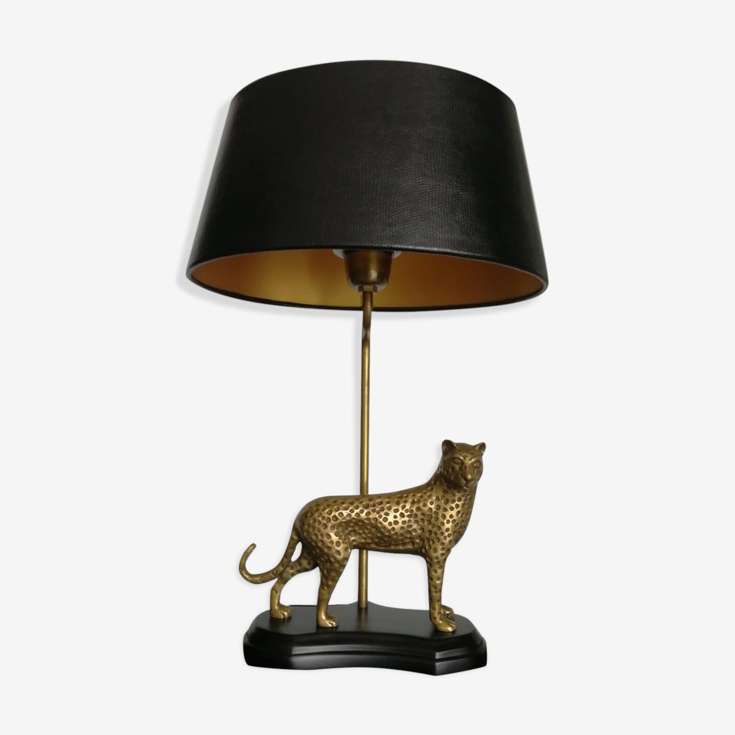 Cheetah brass table lamp 1970