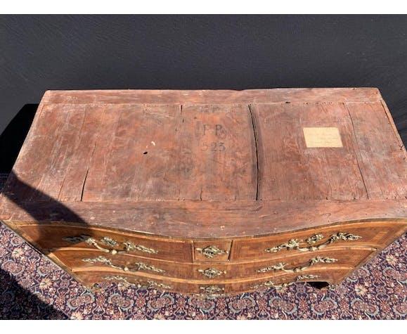 Commode galbée en marqueterie d'époque Louis XIV