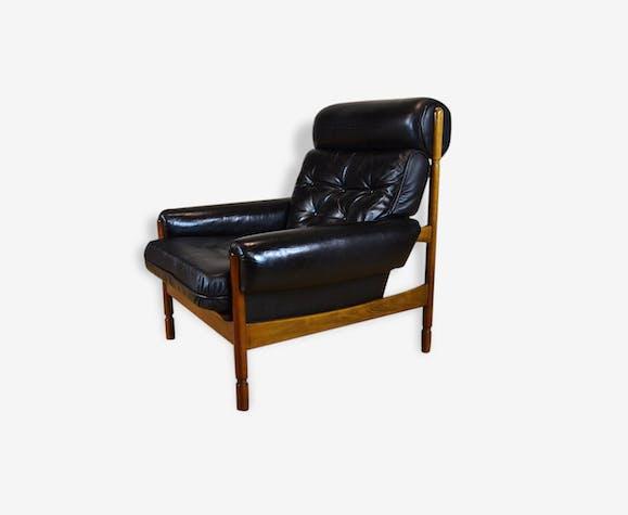 Fauteuil Cuir Design Scandinave Vintage Année Cuir Noir - Fauteuil cuir design scandinave
