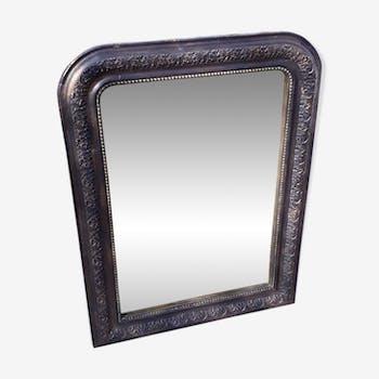 Miroir Louis Philippe noir et doré 74 x 56cm