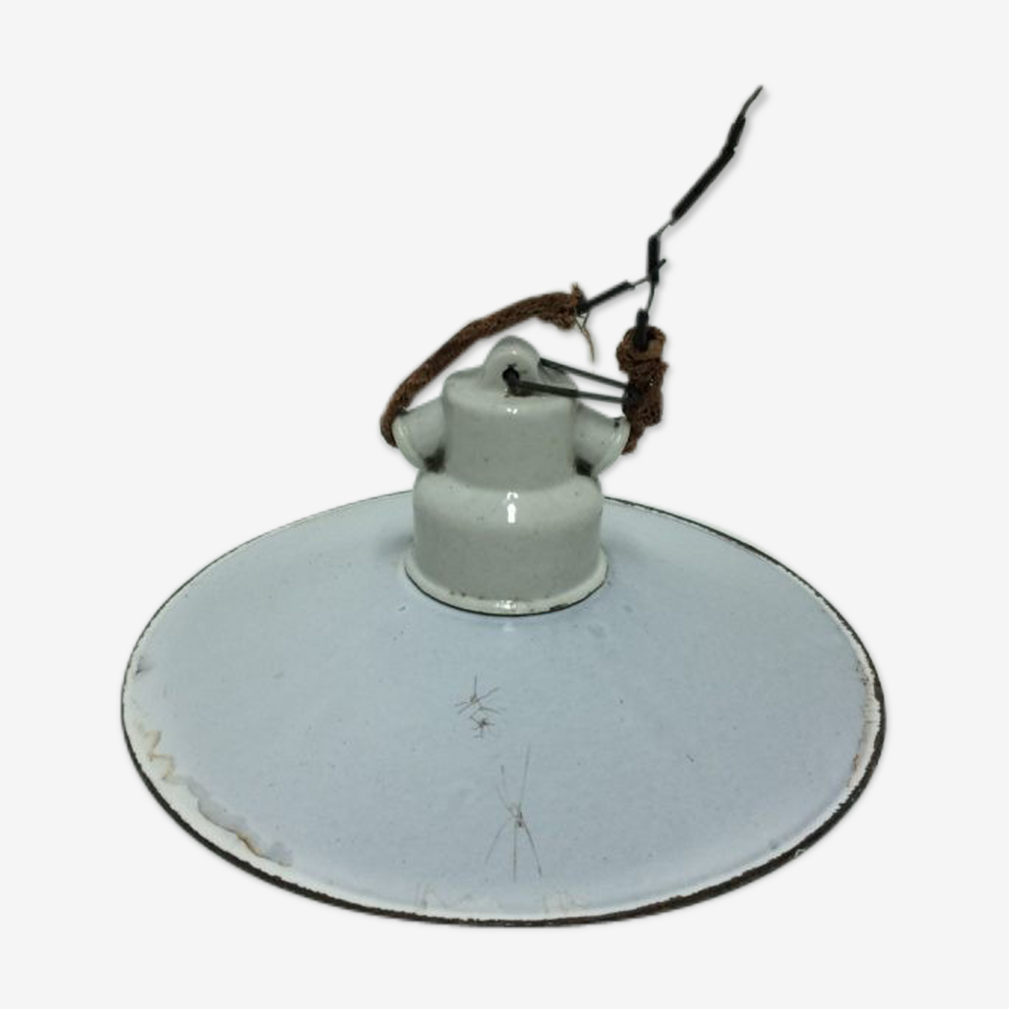 Suspension ancienne métal blanc