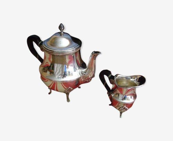 """Argenterie """"Ercuis"""" ensemble théière et Pot à lait en métal argenté"""