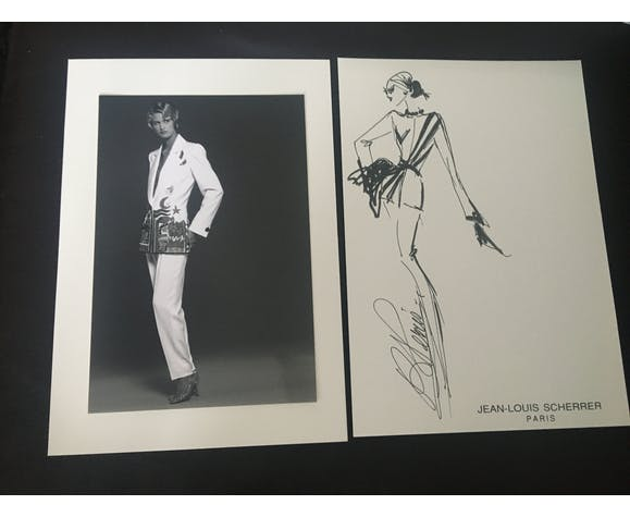 Jean-Louis Scherrer: illustration de mode & photo de presse vintage . 1991
