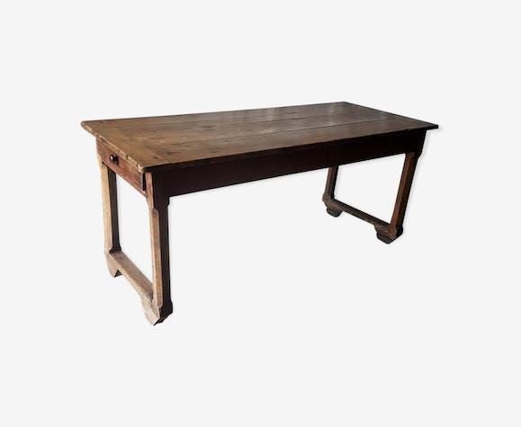 Table de ferme etroite artisanale en bois massif