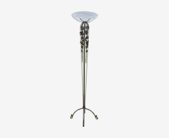 Floor Lamp Torchiere Wrought Iron To Rose Art Deco 1930