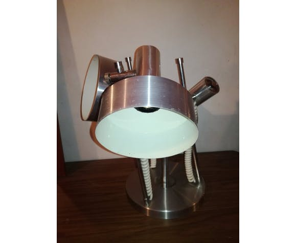Plafonnier lampe à poser en inox 1970