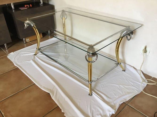Table basse vintage chrome et dorée design 70-80