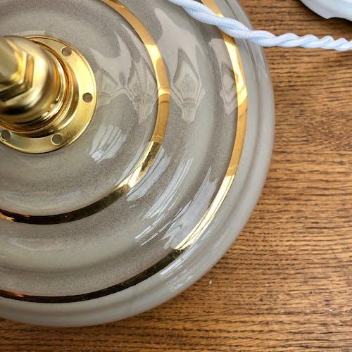 Suspension abat-jour vintage en verre blanc et doré