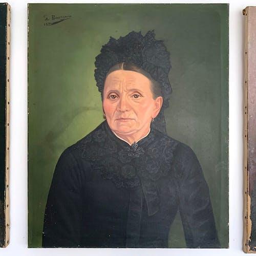 Triptych oil portraits