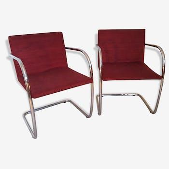 Beau paire de fauteuils acier chromé vintage