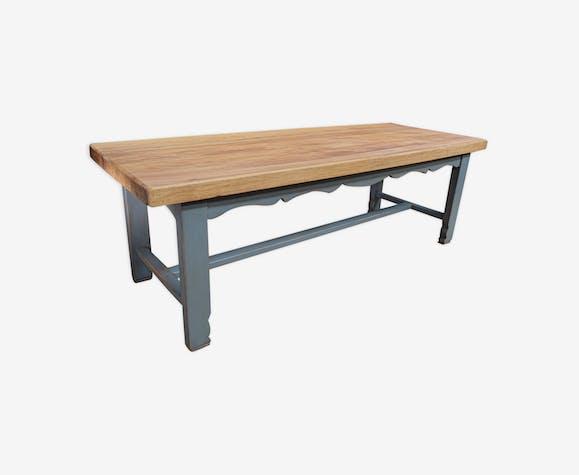 Table de salle a manger en hêtre 1950 pied patinée gris