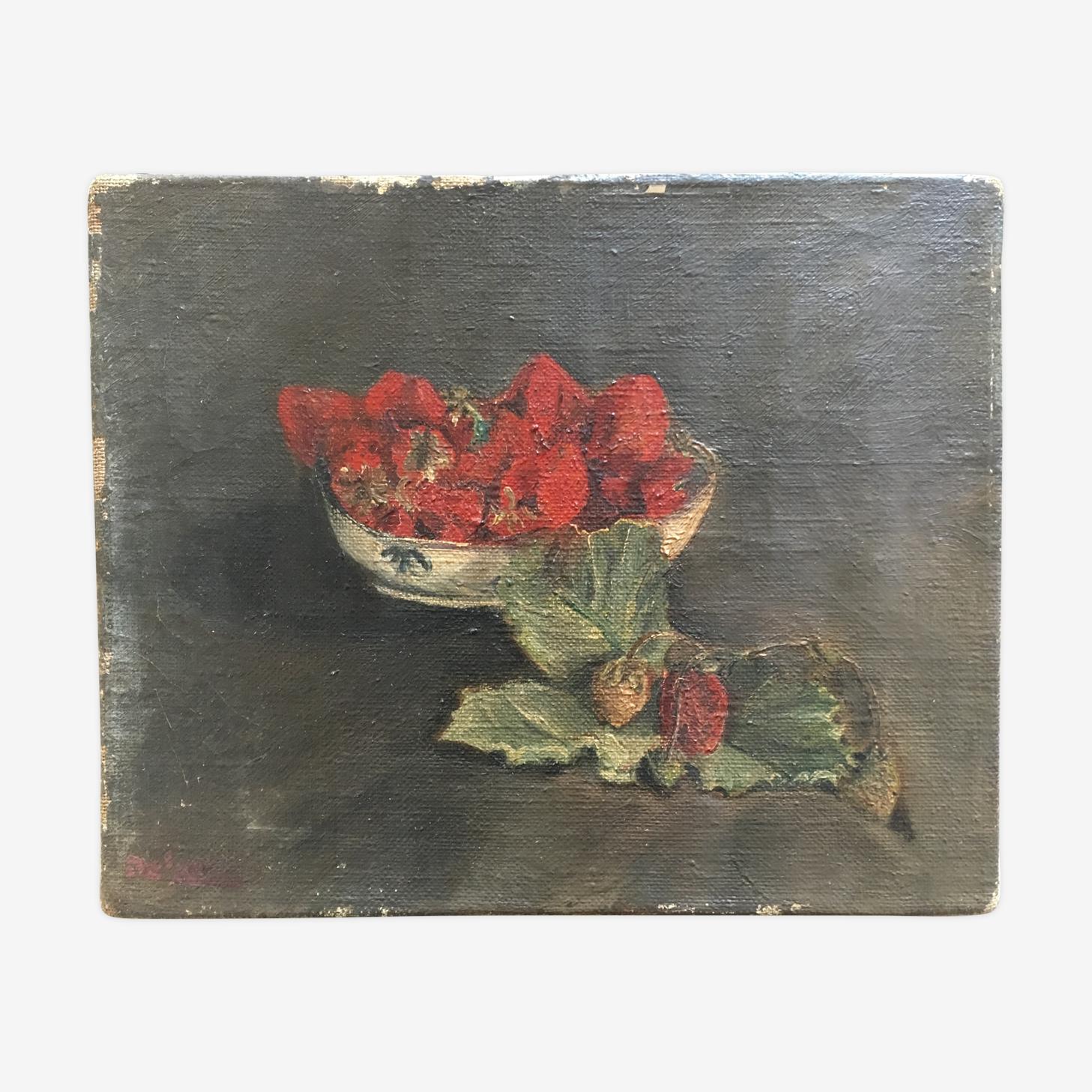 Huile sur toile 20s nature morte fraises de retour du jardin